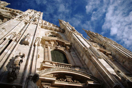 Gothic facade of the Milan Cathedral, Italy photo
