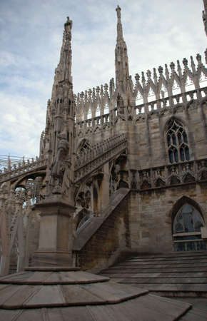 adornment: Gothic adornment on church in Milano, Italy Stock Photo