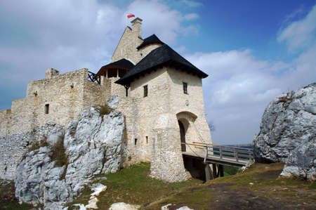 Medieval castle with towers in Bobolice, Poland photo
