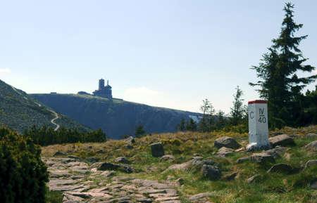 borderline: borderline and tourist trail in mountains, Poland, Czech Republic