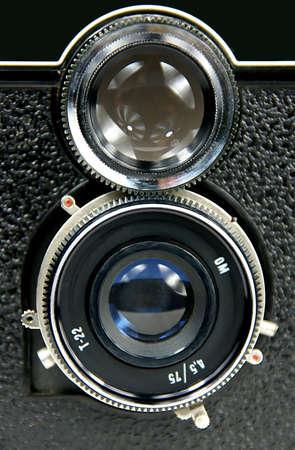 reflex: vecchio doppio-lens reflex Archivio Fotografico