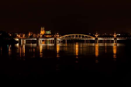 poznan: bridge by night,Poland,Poznan Stock Photo