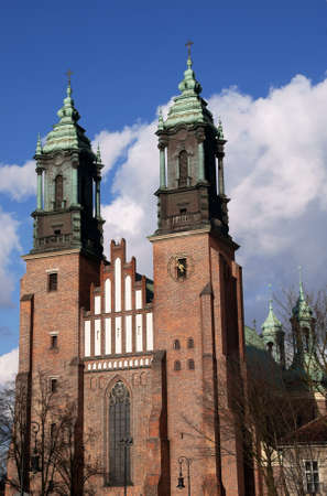 poznan: cathedral with towers in Poznan, Poland