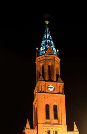 poznan: church tower in Poznan by night, Poland