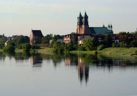 church by the river in Poznan, Poland