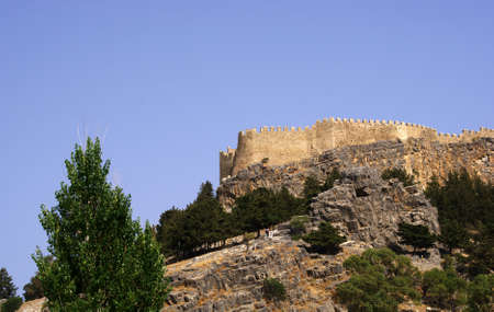 lindos: castle  on the hill, Greece,Rhodes,Lindos Stock Photo