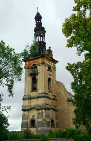 evangelical: ruin of evangelical church tower, Poland Stock Photo