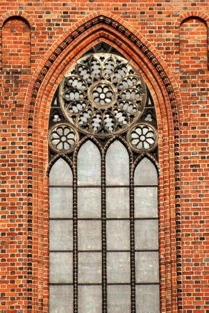 poznan: gothic window, Cathedral Church in Poznan, Poland