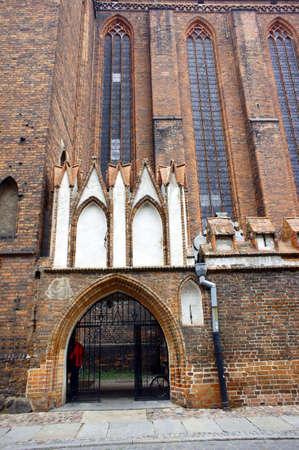 torun: portal in gothic church, Torun, Poland Stock Photo