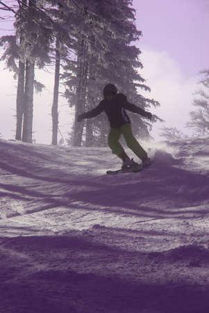ski run: skier on ski run