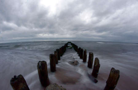 wooden breakwater, Poland
