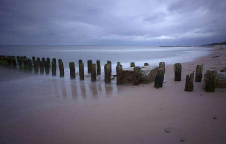 breakwater: wooden breakwater,  Baltic, Poland