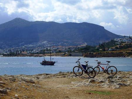 rocky bay, Greece, Crete, Hersonisou Zdjęcie Seryjne