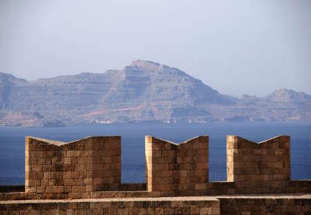lindos: battlements on Acropolis, Greece,Rhodes,Lindos