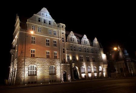 assembly hall: assembly hall university by night in Poznan