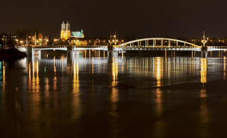 bridge by night,Poland,Poznan Stock Photo