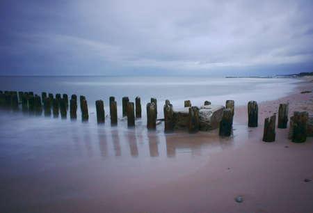 breakwater: breakwater on Baltic coast, Poland