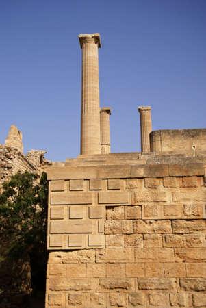 lindos: ancient column in Lindos, Greece,Rhodes Stock Photo