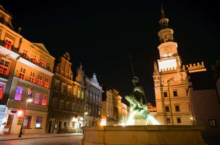 poznan: Old Market at night in Poznan, Poland Stock Photo