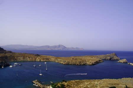 lindos: port  in a bay, Greece,Rhodes,Lindos