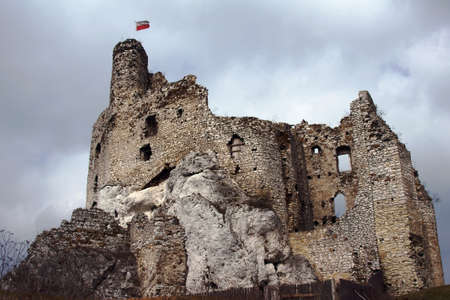 Ruined medieval castle with tower in Mirow, Poland