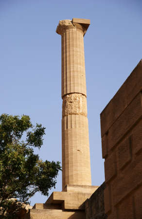 lindos: column, Greece,Rhodes,Lindos