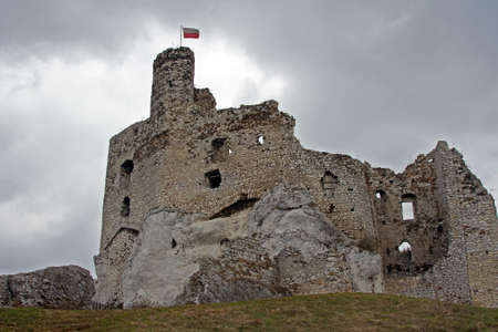 Ruined medieval castle with tower in Mirow, Poland photo