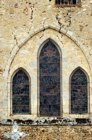 romanesque: Romanesque church window in Congy, France