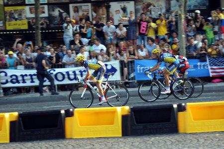 champs elysees: Paris,France, July 21nd 2013:  Le Tour de France 2013. Cyclist  Alberto CONTADOR  on Avenue des Champs Elysees in Paris.