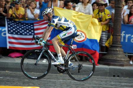 Paris,France, July 21nd 2013:  Le Tour de France 2013. Cyclist Lieuwe WESTRA riding  on Avenue des Champs Elysees in Paris.