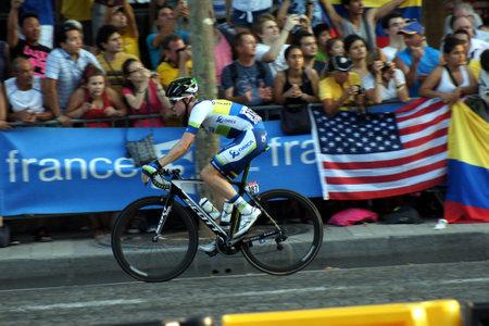 Paris,France, July 21nd 2013:  Le Tour de France 2013. Cyclist Cameron MEYER riding  on Avenue des Champs Elysees in Paris.