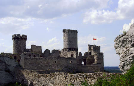 ogrodzieniec: Ruined medieval castle with tower in Ogrodzieniec, Poland Editorial