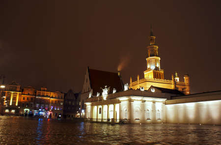 Old Market with City Hall in Poznan by night, Poland Stock Photo