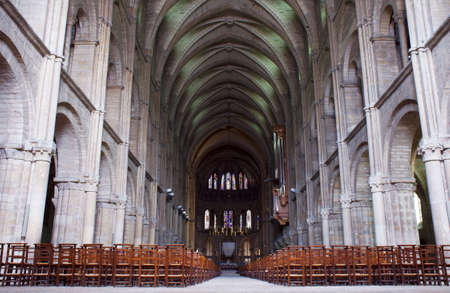 The interior of the Romanesque basilica of St, Remi in Reims, France