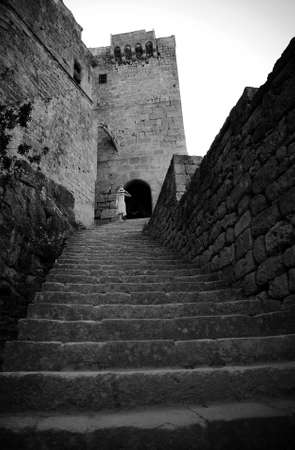 castle  on the hill in Lindos, Greece,Rhodes photo