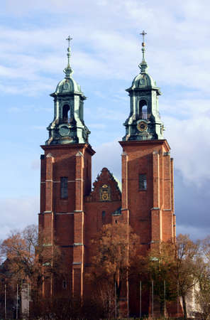 wielkopolska: The towers of the Basilica Archdiocese of Gniezno