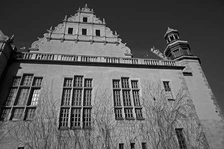 assembly hall: black and white assembly hall university in Poznan  Editorial