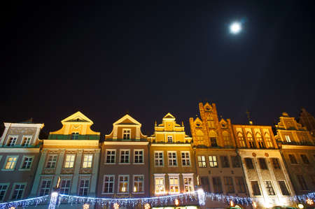 Christmas ornaments in the Old Market Square in Poznan by night