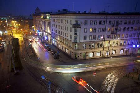 poznan: Night traffic in Poznan