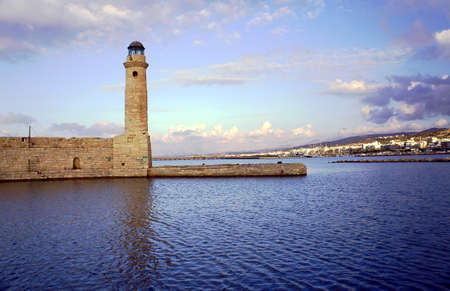 rethymno: Venetian lighthouse in the old harbor, Rethymno, Crete Stock Photo