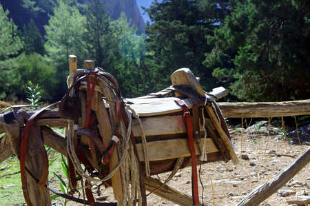 Saddles for a mule in the gorge of Samaria, Crete  photo