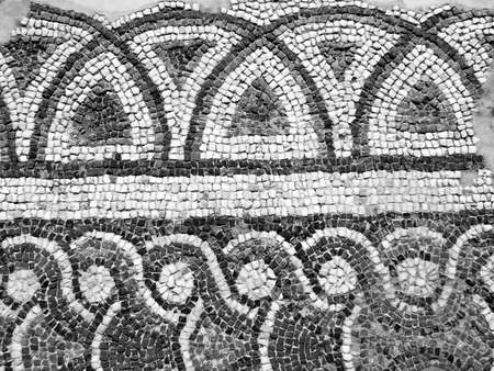 Byzantine mosaic floor in the ruins of the church, Crete, Greece  Stock Photo
