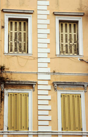 kerkyra: Windows Venetian building in the town Kerkyra  on the island of Corfu  Stock Photo