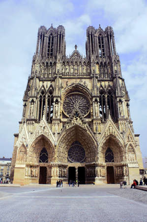 bow window: Facade of the cathedral of Notre-Dame de Reims, France Editorial
