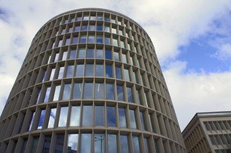windows in modernistic buildings in Poznan, Poland