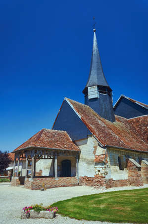 bow window: Medieval parish church in Champagne, France Stock Photo