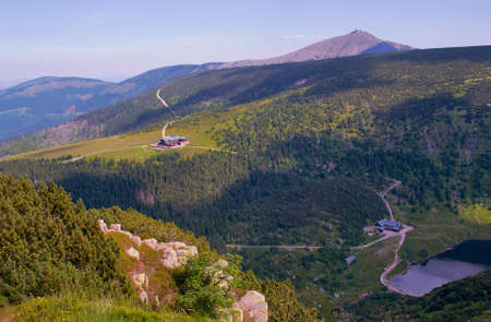 chalets: lake and chalets in Giant Mountains, Poland