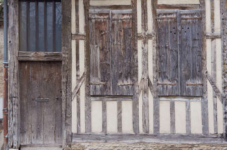 half timbered: Door and shutter in a medieval building in Troyes