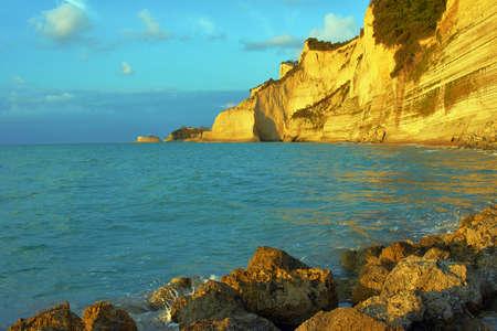 corfu: rock on coast at Corfu island, Greece