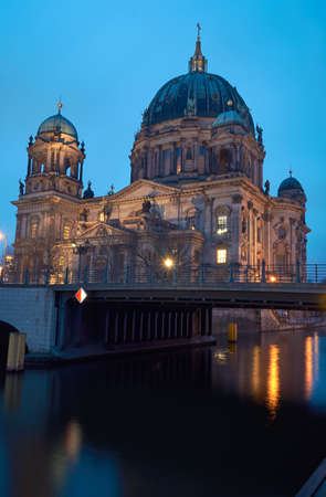evangelical: Evangelical Cathedral in Berlin on the river Spree